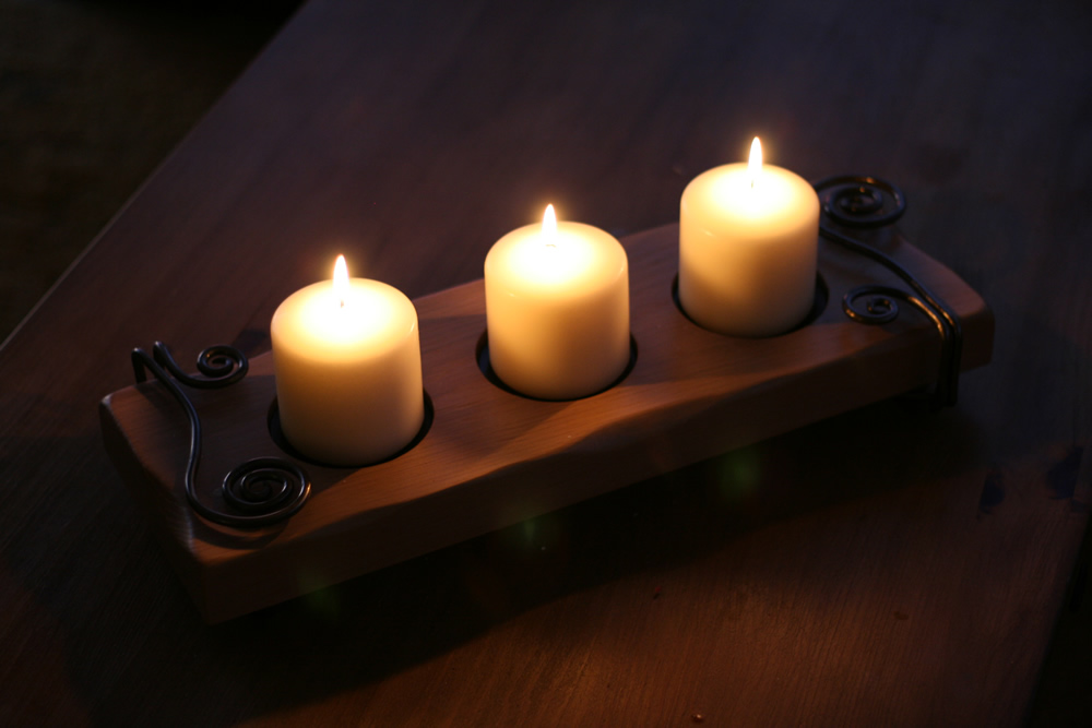 Rochester candle holder lit